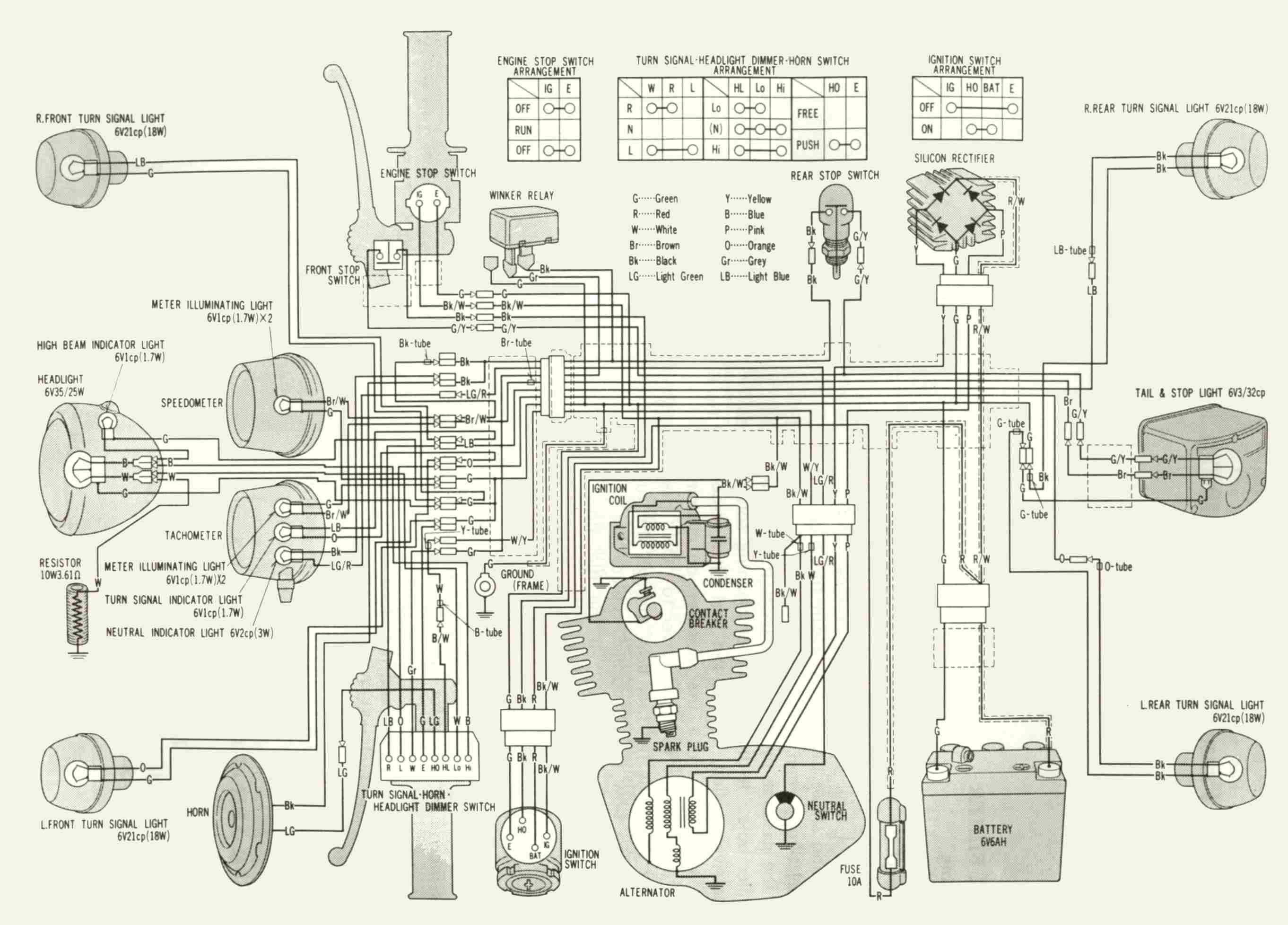 Honda Xl 250 Resource Site 6 Volt Turn Signal Wiring Diagram Here Is The K2 One In English1976 K3 Much Same Except There No 361 Ohm Wire Wound Resistor And Indicators Are Ground Made Through